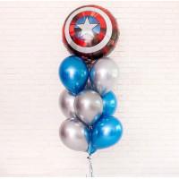 Фонтан из гелиевых шариков Щит Америки в серебристо- голубой гамме