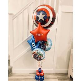 Композиция из воздушных шариков Щит Америки и Мстители со звездами с вашим текстом