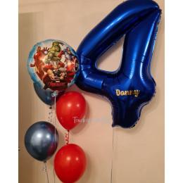 Сет из шариков Мстители с именной цифрой ко Дню Рождения