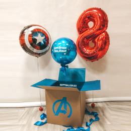 Композиция из шариков Young Avenger Щит Капитана Америки с цифрой и хром с индивидуальной надписью