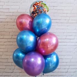 Букет гелиевых шариков хром с Мстителями