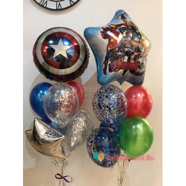 Композиция из гелевых шариков Команда Мстителей со Щитом Капитана Америки, звездой и шарами с конфетти