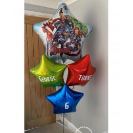 Букет из гелиевых шариков Мстители из Вселенной Марвел со звездами с вашими поздравлениями