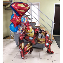 Композиция из шаров с гелием Железный Человек и Эмблема Супермена