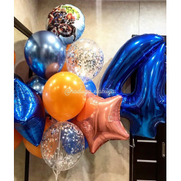 Композиция из шариков Мстители цифрой, звездами и шарами с конфетти