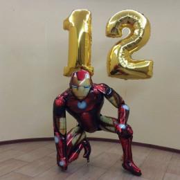 Набор шаров с гелием Железный Человек с двумя цифрами