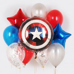 Композиция из шаров Щит Америки со звездами и шарами с конфетти