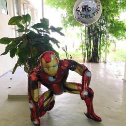 Набор гелевых шариков Железный Человек с серебряным кругом с вашим текстом