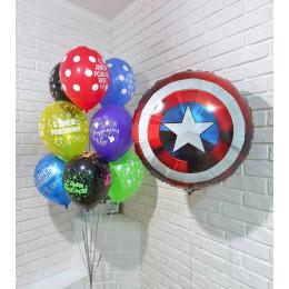 Композиция из шаров с гелием поздравления от Капитана Америки