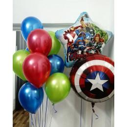 Композиция из шаров с гелием Команда Мстителей со Щитом Америки