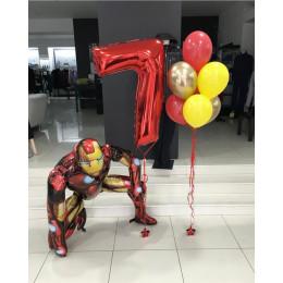 Композиция из шаров Железный Человек с цифрой мальчику