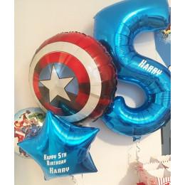 Композиция из шаров Мстители со Щитом Америки на День Рождения с вашими поздравлениями