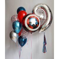 Композиция из шаров с гелием Щит Капитана Америки с цифрой и шарами с конфетти
