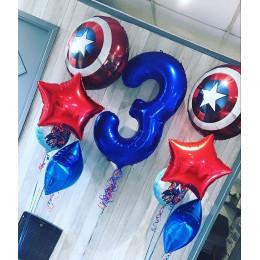 Композиция из шаров с гелием в стиле Марвел на трехлетие