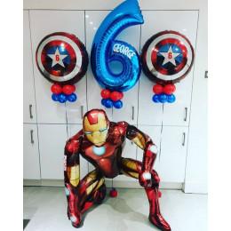 Сет из гелиевых шаров Железный Человек и Щит Америки с цифрой на День Рождения