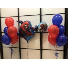 Сет из воздушных шаров Мстители с Человеком пауком и двумя фонтанами