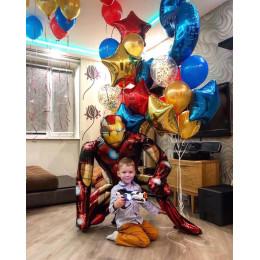 Композиция из воздушных шаров мальчику на День Рождения с супер героем Железным Человеком