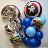 Композиция из гелиевых шариков на День Рождения с цифрой и Щитом Капитана Америки