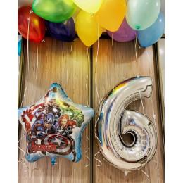 Набор шариков с гелием Мстители на шесть лет мальчику