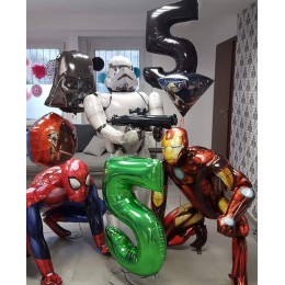 Набор шаров с гелием Железный Человек, Человек паук с героями Звездных Войн на пять лет