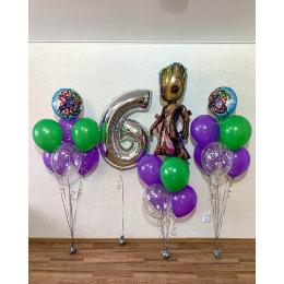 Композиция из воздушных шаров Грут и Мстители на шесть лет