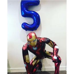Набор шаров Железный человек с именной цифрой