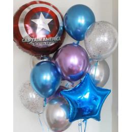 Сет из гелевых шаров хром со Щитом Америки и звездочкой