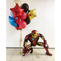 Композиция из шаров с ходячей фигурой Железного Человека и букетом со звездами