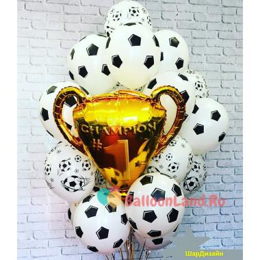 Букет из воздушных шариков для чемпиона с кубком и футбольными мячами