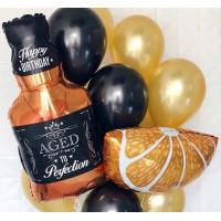 Букет из шариков с долькой апельсина и Бутылкой виски мужчине