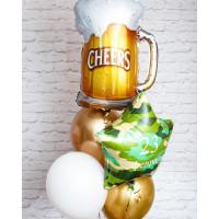 Букет из шариков с гелием мужчине с кружкой пива и звездой