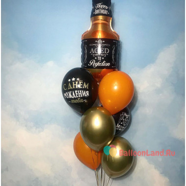 Букет шаров с бутылкой виски на День Рождения мужчине