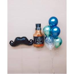 Композиция из воздушных шаров Черные усы и бутылка Виски