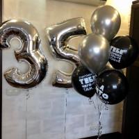 Композиция из гелиевых шариков на День Рождения с мужскими оскорбительными шарами