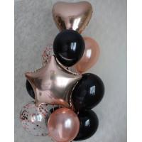 Букет гелиевых шаров для мужчины со звездой и сердцем