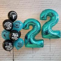 Композиция из шаров с гелием на День Рождения настоящему мужчине
