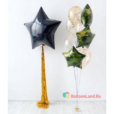 Композиция из воздушных шариков звезды с шарами с конфетти мужчине