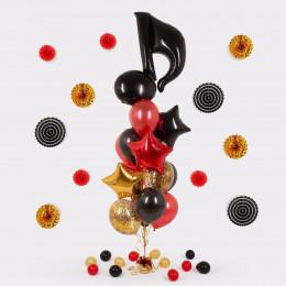 Букет из гелевых шаров с черной Нотой