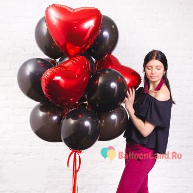 Букет шаров на 14 февраля Красное и чёрное