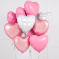 Букет воздушных шариков для оформления 14-го февраля Нежная любовь