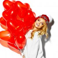 Шары с гелием в виде сердца на день святого валентина красный, 30 см