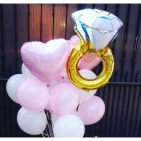 Облако гелиевых шариков для неё с кольцом