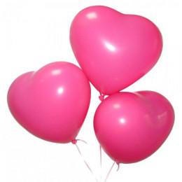 Гелиевые шарики в форме сердца на 14-ое февраля фуксия, 30 см