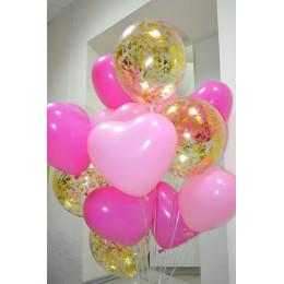 Облако нежных воздушных шаров Сердечки и конфетти