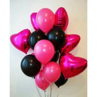 Букет воздушных шариков Для любимой чёрное и розовое