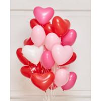 Воздушные шары на украшение 14-го февраля в виде сердца ассорти, 30 см
