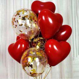 Букет воздушных шариков с сердцами и шариками с конфетти на день влюблённых