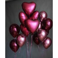 Композиция из воздушных шаров винных оттенков