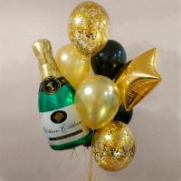 Букет воздушных шариков с шампанским и шарами конфетти