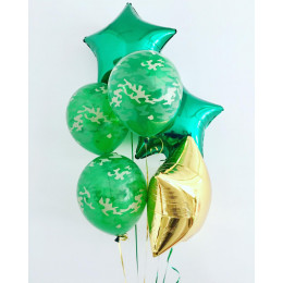 Букет шаров с гелием Камуфляж и звёзды для мужчины